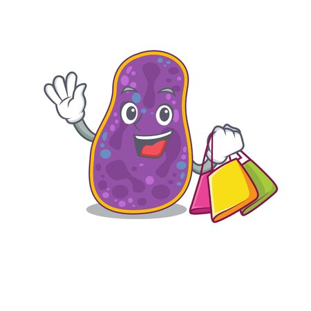 Rich and famous shigella sp. bacteria cartoon character holding shopping bags Banco de Imagens - 145998529