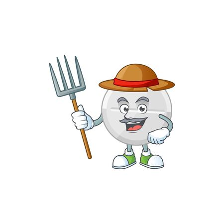 Mascot design style of Farmer white pills with hat and pitchfork. Vector illustration