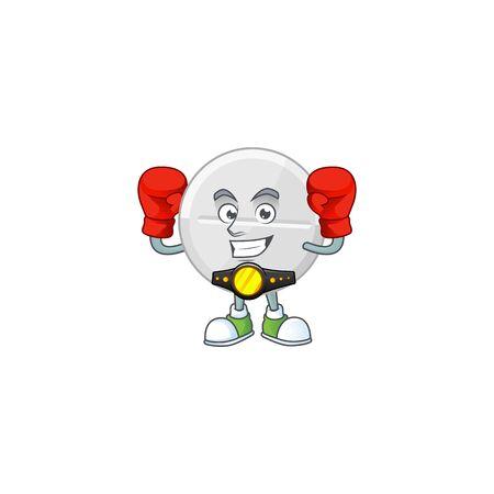 A sporty white pills boxing athlete cartoon mascot design style. Vector illustration