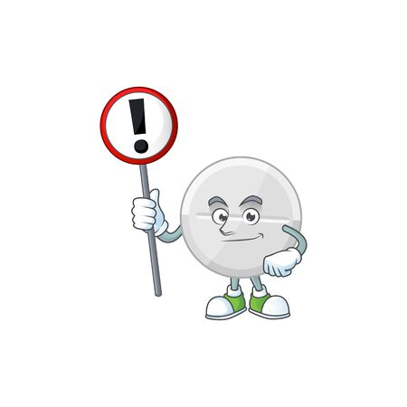 A picture of white pills cartoon character concept holding a sign. Vector illustration