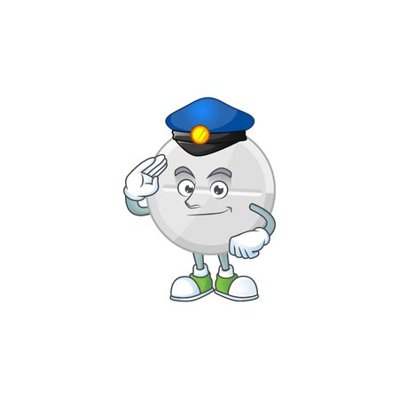 A dedicated Police officer of white pills mascot design style. Vector illustration