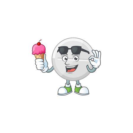 Cute white pills cartoon character enjoying an ice cream. Vector illustration