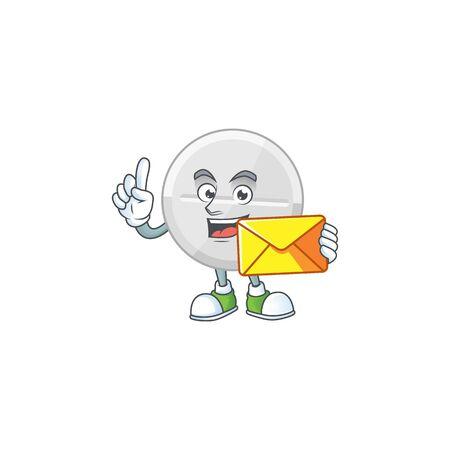 Cute face white pills mascot design bring brown envelope. Vector illustration Ilustração