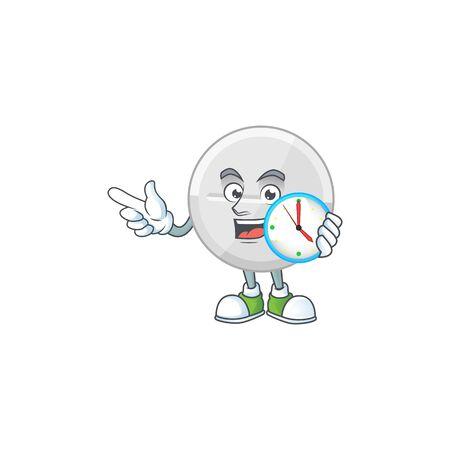 White pills mascot design concept holding a circle clock. Vector illustration Ilustração