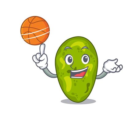 Gorgeous cyanobacteria mascot design style with basketball