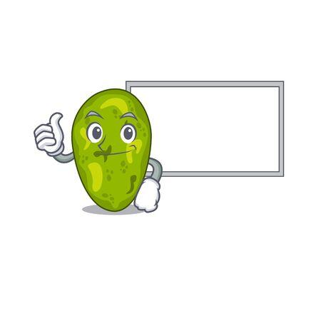 Humorous cyanobacteria cartoon design Thumbs up bring a white board