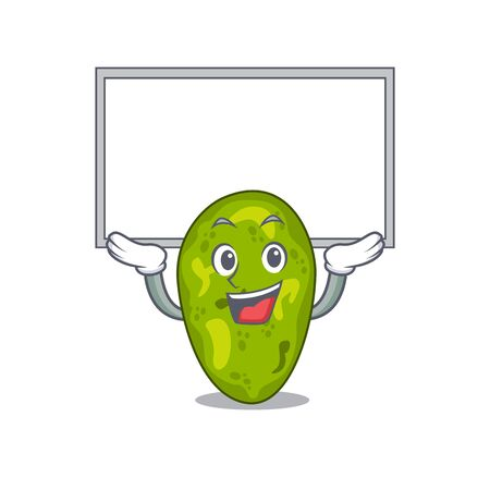 Mascot design of cyanobacteria lift up a board