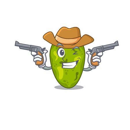 Cute handsome cowboy of cyanobacteria cartoon character with guns