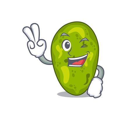 Happy cyanobacteria cartoon design concept with two fingers