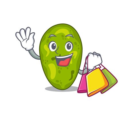 Rich and famous cyanobacteria cartoon character holding shopping bags