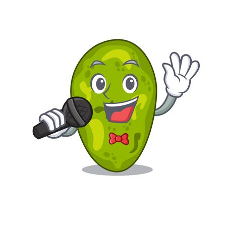 Talented singer of cyanobacteria cartoon character holding a microphone 向量圖像