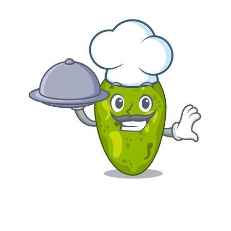 Cyanobacteria chef cartoon character serving food on tray