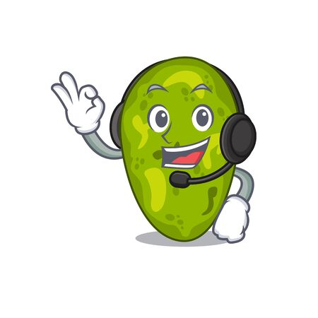 A gorgeous cyanobacteria mascot character concept wearing headphone