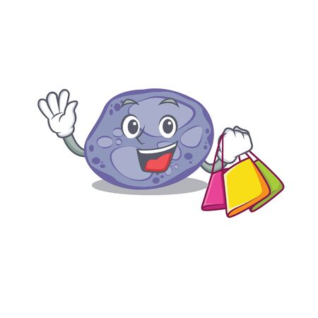 Rich and famous blue planctomycetes cartoon character holding shopping bags