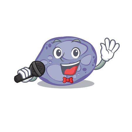 Talented singer of blue planctomycetes cartoon character holding a microphone 向量圖像