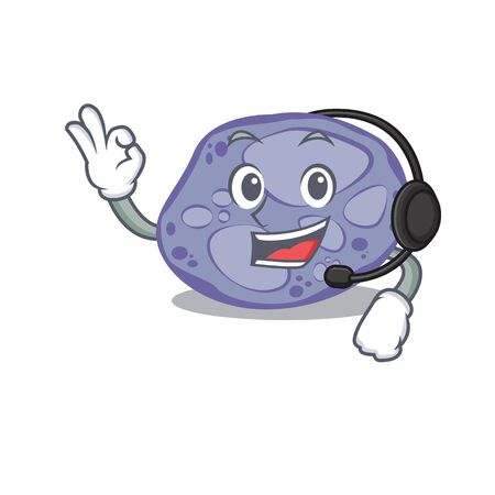A gorgeous blue planctomycetes mascot character concept wearing headphone 向量圖像