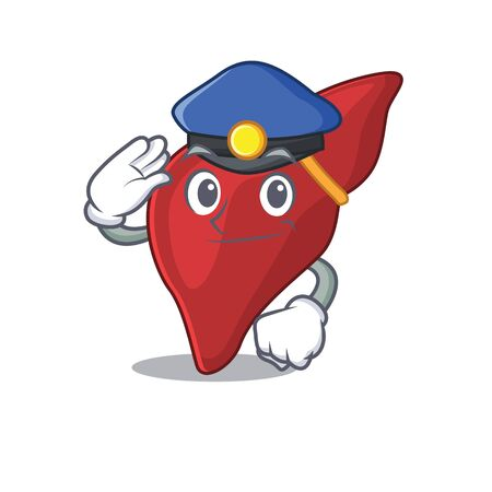 Police officer mascot design of healthy human liver wearing a hat