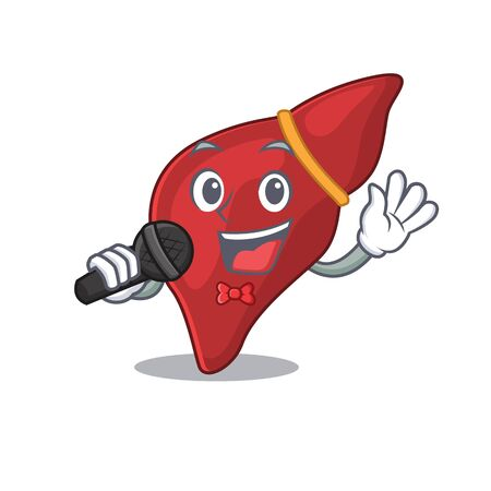 Talented singer of healthy human liver cartoon character holding a microphone