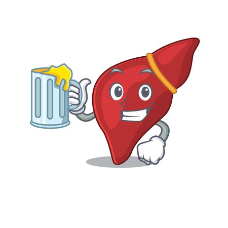 A cartoon concept of healthy human liver rise up a glass of beer Vetores