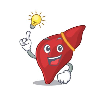 Mascot character design of healthy human liver with has an idea smart gesture