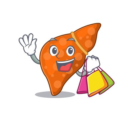 Rich and famous human hepatic liver cartoon character holding shopping bags