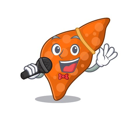 Talented singer of human hepatic liver cartoon character holding a microphone 向量圖像
