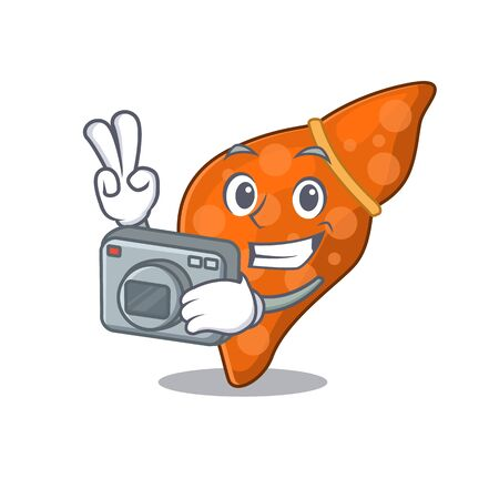 Human hepatic liver mascot design as a professional photographer working with camera