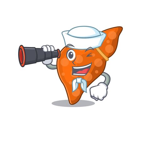 A cartoon icon of human hepatic liver Sailor with binocular