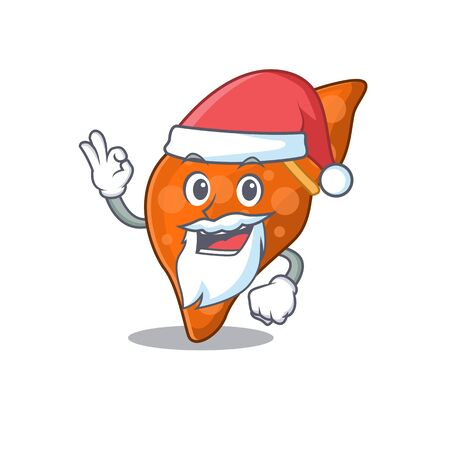 Human hepatic liver Santa cartoon character with cute ok finger