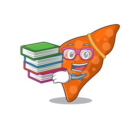 A diligent student in human hepatic liver mascot design concept with books