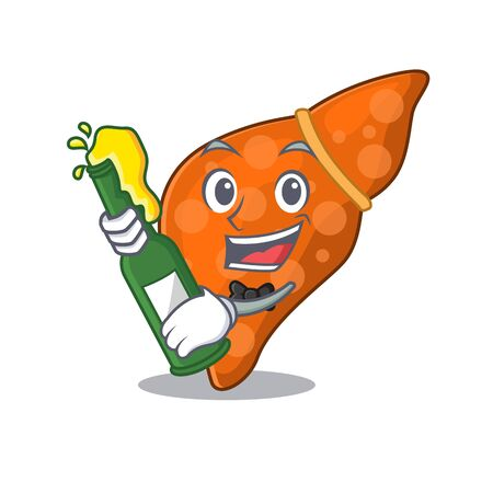 Mascot character design of human hepatic liver say cheers with bottle of beer Illusztráció