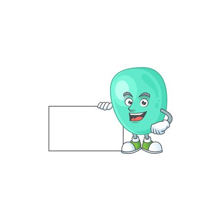 Staphylococcus aureus cartoon character concept Thumbs up having a white board. Vector illustration Illustration