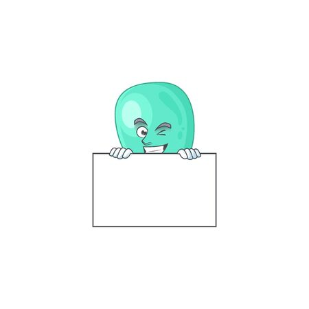 Sneaky staphylococcus aureus cartoon character style hiding behind a board. Vector illustration