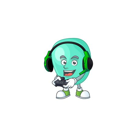A cartoon design of staphylococcus aureus talented gamer play with headphone and controller