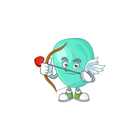 Charming picture of staphylococcus aureus Cupid mascot design concept with arrow and wings