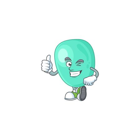 Mascot design style of staphylococcus aureus showing Thumbs up finger Illustration