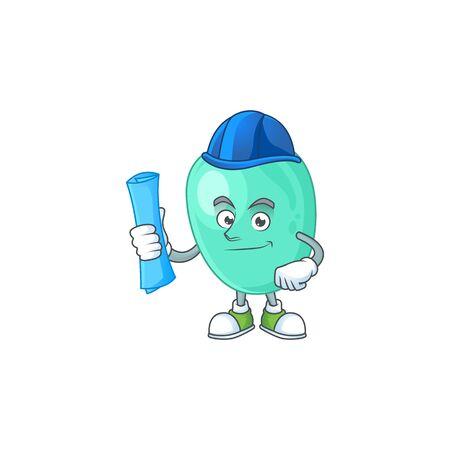 Talented Architect staphylococcus aureus cartoon design style having blue prints