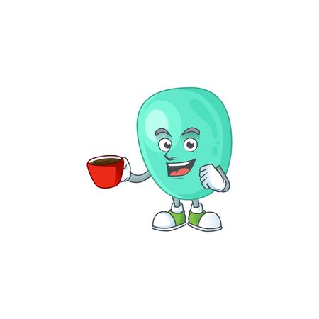 An image cartoon character of staphylococcus aureus with a cup of coffee Illustration