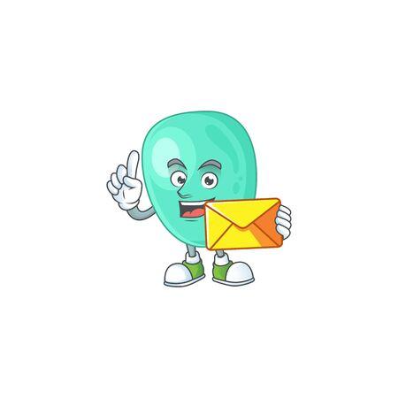 Cute face staphylococcus aureus mascot design bring brown envelope