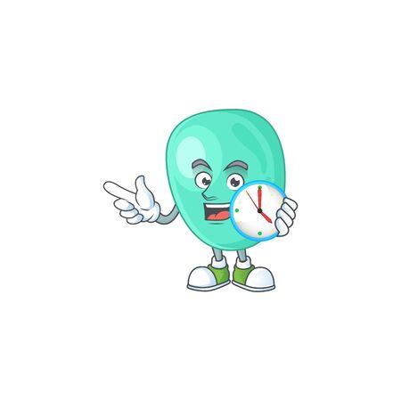 Staphylococcus aureus mascot design concept holding a circle clock