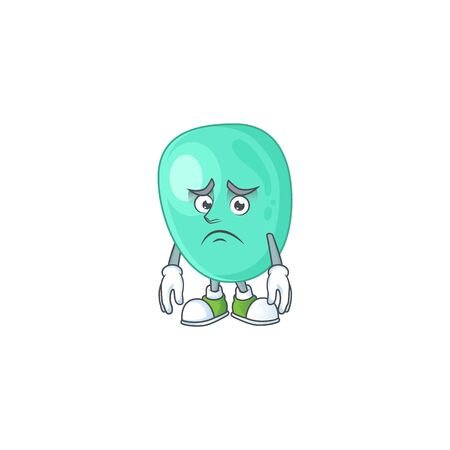 Cartoon picture of staphylococcus aureus with worried face. Vector illustration