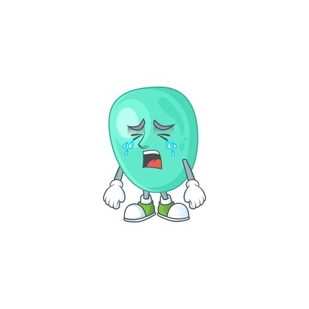 A weeping staphylococcus aureus cartoon character concept. Vector illustration