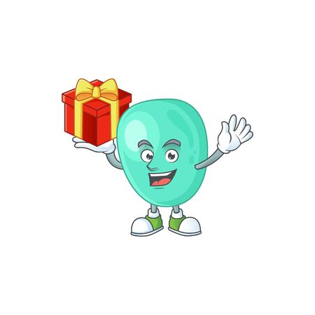 Charming staphylococcus aureus mascot design has a red box of gift
