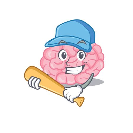 Picture of human brain cartoon character playing baseball. Vector illustration