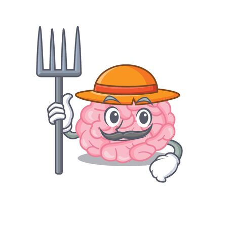 Cartoon character design of human brain as a Farmer with hat and pitchfork. Vector illustration