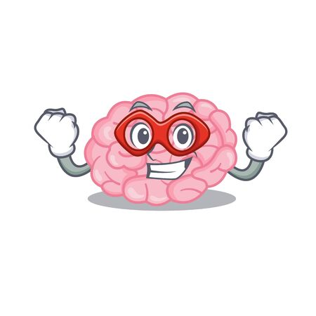 A cartoon character of human brain performed as a Super hero. Vector illustration
