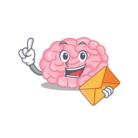 Happy human brain mascot design concept with brown envelope. Vector illustration