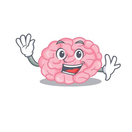 A charismatic human brain mascot design style smiling and waving hand. Vector illustration