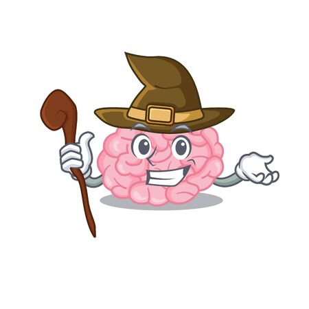 human brain sneaky and tricky witch cartoon character. Vector illustration Illustration