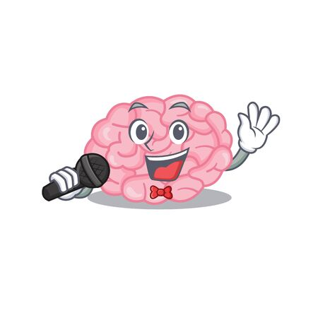 Talented singer of human brain cartoon character holding a microphone. Vector illustration 向量圖像